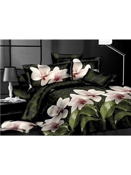 Pretty Magnolia Flower and Leaves Print 4-Piece Polyester Duvet Cover Sets