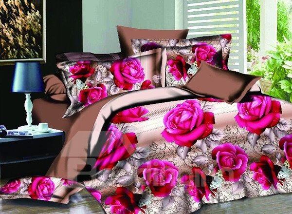 Beautiful Pink Rose Print 4-Piece Polyester Duvet Cover Sets