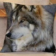Glancing Side Way Wolf Pattern Comfortable Throw Pillow