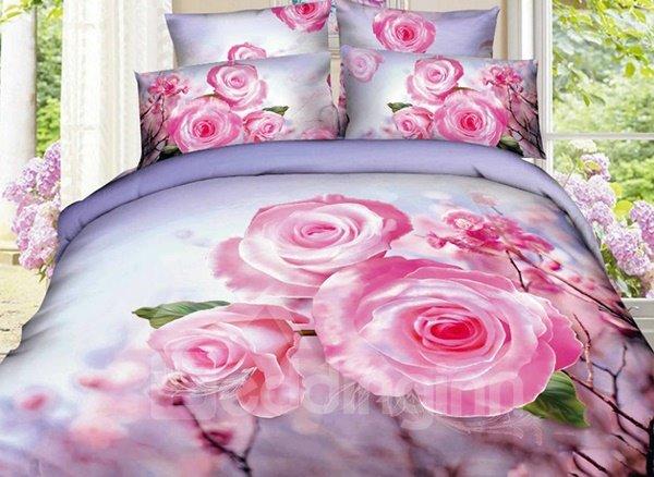 Charming Pink Flower Print 4-Piece Cotton Duvet Cover Sets