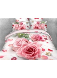 Romantic Pink Flower and Red Lips Print 4-Piece Cotton Duvet Cover Sets
