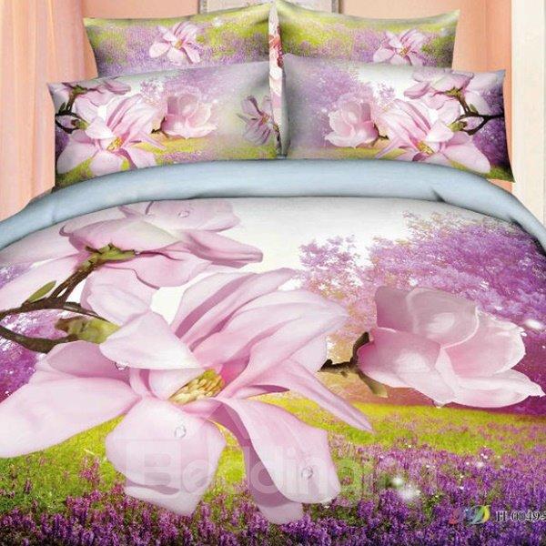 Wonderful Magnolia and Lavender Field Print 4-Piece Cotton Duvet Cover Sets