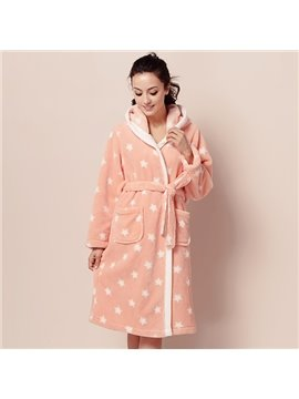 Comfy Stars Coral Fleece Bathrobe with Hat