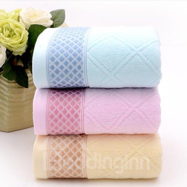 Plush Comfy Full Cotton Plaid Bath Towel