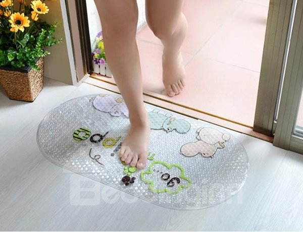Lovely Cartoon Sea Horse Print Bath Rug