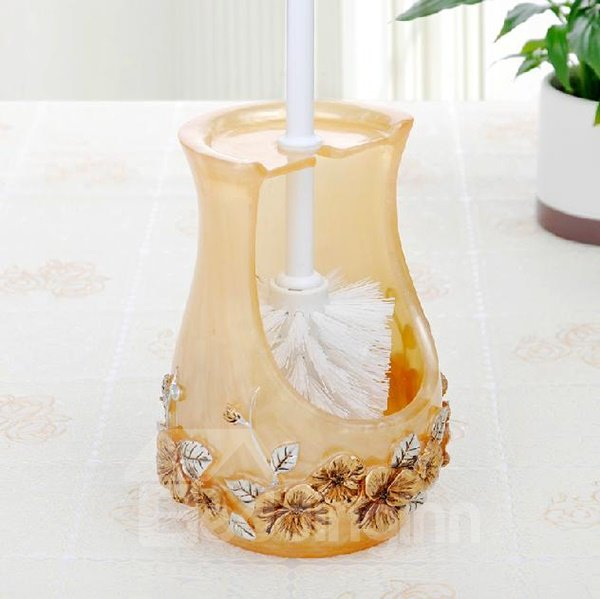Beautiful Novel Floral Image Resin Toilet Brush Holder