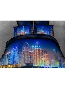 Neon City of Night Print 4-Piece Cotton Duvet Cover Sets