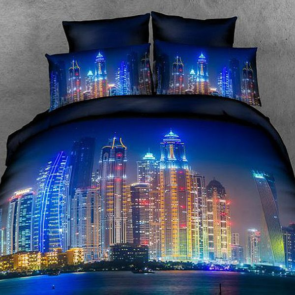 Neon City of Night Print 4-Piece Cotton Duvet Cover Sets