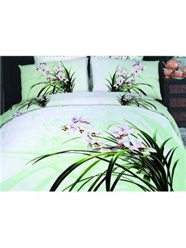 Elegant Orchid Flower Print 4-Piece Cotton Duvet Cover Sets