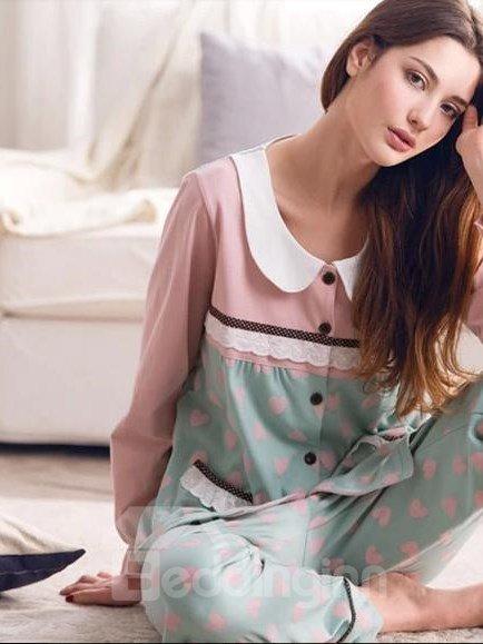 Sweet Comfortable Cotton Long Sleeves Lady Pajama Set