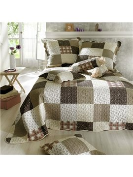 Cotton Brown Squares Floral Bed in a Bag