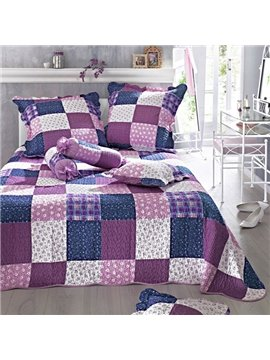 Ultra Soft Purple Squares Floral 3-Piece Bed in a Bag