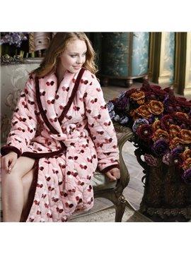 Romantic Sweet Red Heart Print Coral Fleece Bathrobe