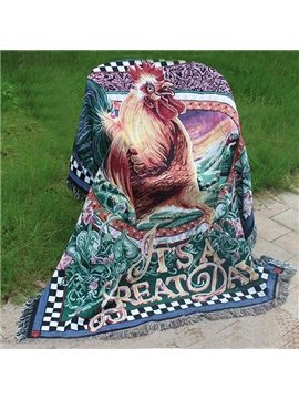 Thick Style Super Soft Plush Cock Painting Comfortable Animal Print Blanket