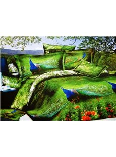 Adorable Peacock in Forest Print 4-Piece Polyester Duvet Cover Sets