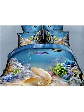 Wonderful Sea World Pearl and Fish Print 4-Piece Polyester Duvet Cover Sets