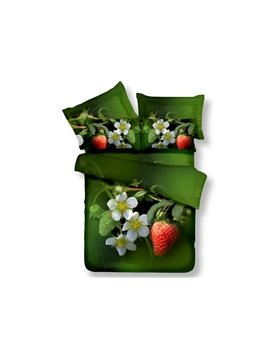 Sweet Strawberries and Flower Print 4-Piece Cotton Duvet Cover Sets