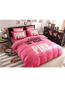 Loving in Pink Print 4-Piece Coral Fleece Duvet Cover Sets