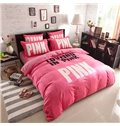 Fashion Pink Letters Print 4-Piece Coral Fleece Duvet Cover Sets