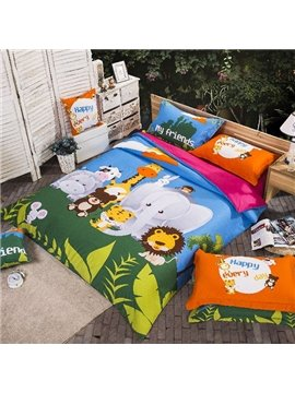Animal Kingdom Print 4-Piece Cotton Duvet Cover Sets