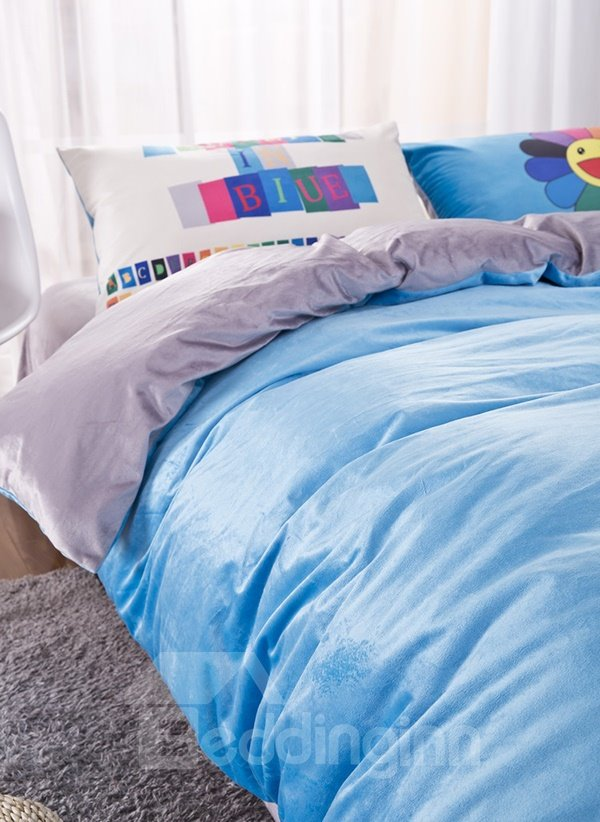 Sky Blue Reactive Dyeing 4-Piece Duvet Cover Sets