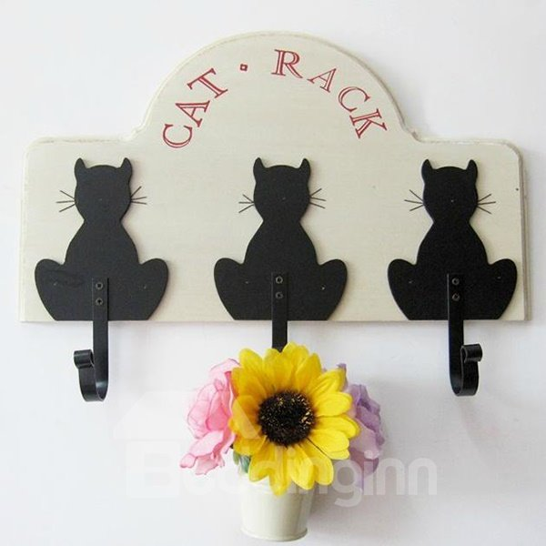 Adorable Decorative Cartoon Black Cat Coat Hook