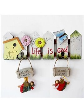 Decorative Lovely Fence Flower Butterfly Coat Hook