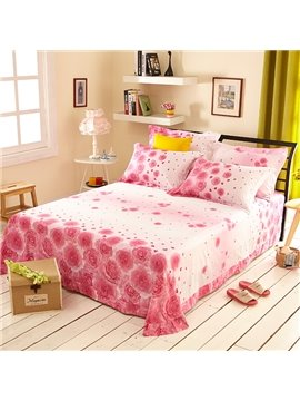 Romantic Pink Roses Print 4-Piece Cotton Wedding Duvet Cover Sets