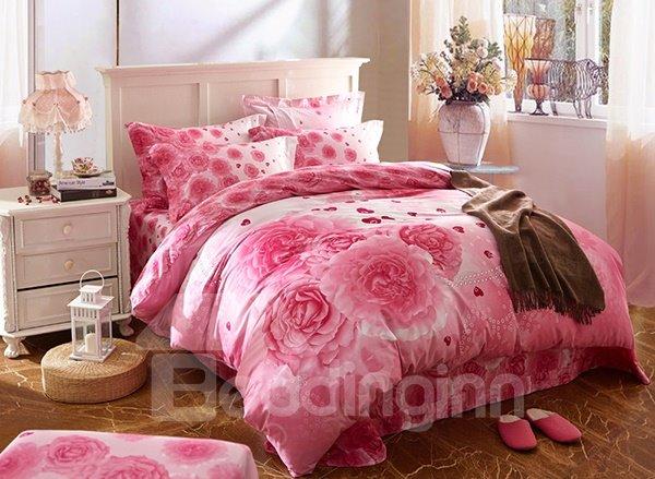 Romantic Pink Roses Print 4-Piece Cotton Wedding Duvet Cover Sets
