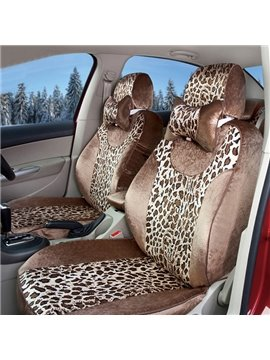 Super Comfortable and Soft Leopard Short Plush Car Seat Cover