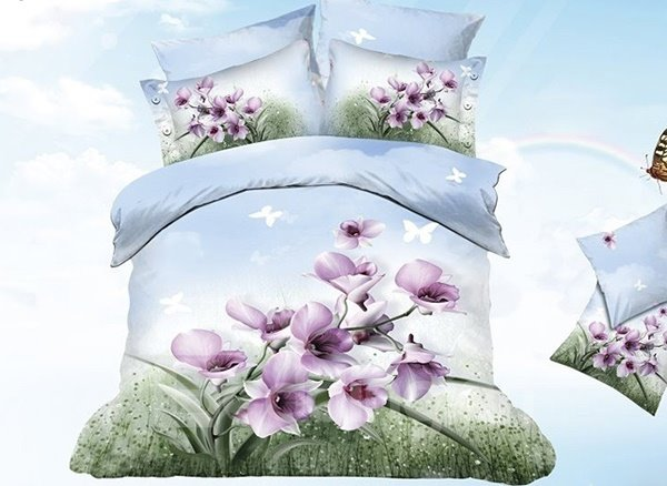 Wonderful Purple Flower and Butterfly Print Cotton Duvet Cover Sets