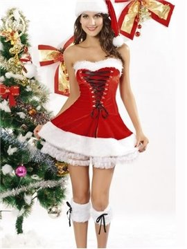 Sexy Adjustable Bust and Waist 3 Pieces Christmas Costume