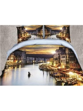 Peaceful Watery City Print 4-Piece Polyester Duvet Cover Sets