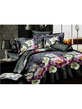 Elegant Flower with Black Background 4-Piece Polyester Duvet Cover Sets