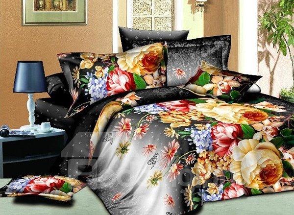 Vivid Colorful Flower Print 4-Piece Polyester Duvet Cover Sets