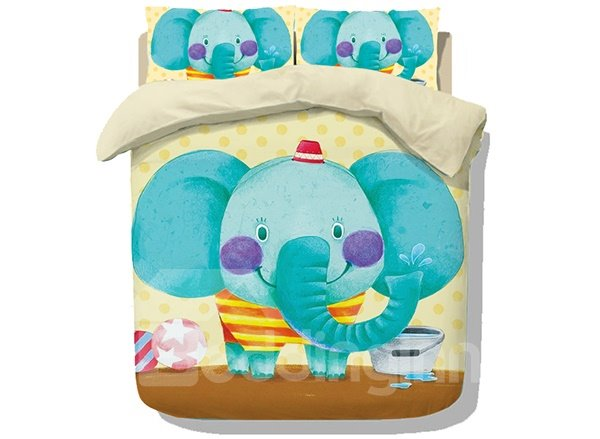 Super Cute Cartoon Elephant Print 4-Piece Coral Fleece Duvet Cover Set