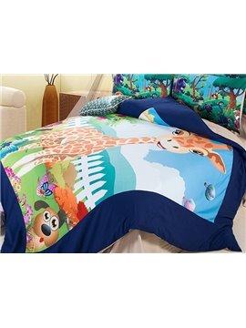 Cute Cartoon Giraffe Print 4-Piece Coral Fleece Duvet Cover Set