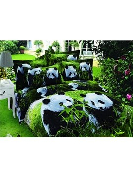 Lovely Panda Eating Bamboo Print 4-Piece Cotton Duvet Cover Sets