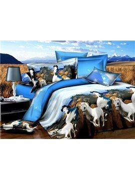 White Hores Running on Prairie Print 4-Piece Polyester Duvet Cover Sets