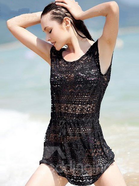 Sexy Black Hollow Beach Dress Cover Up