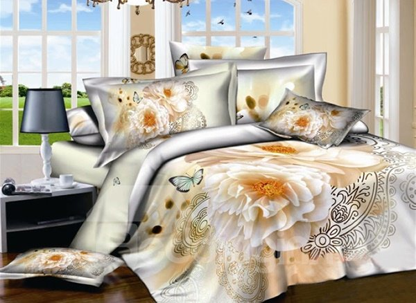 Noble Peony and Butterfly Print 4-Piece Cotton Duvet Cover Sets