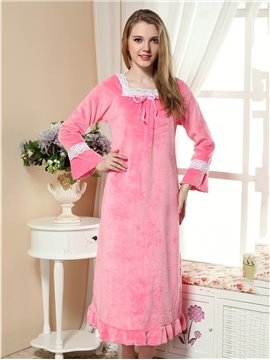 Lovely And Comfortable Velvet Winter Nightgown