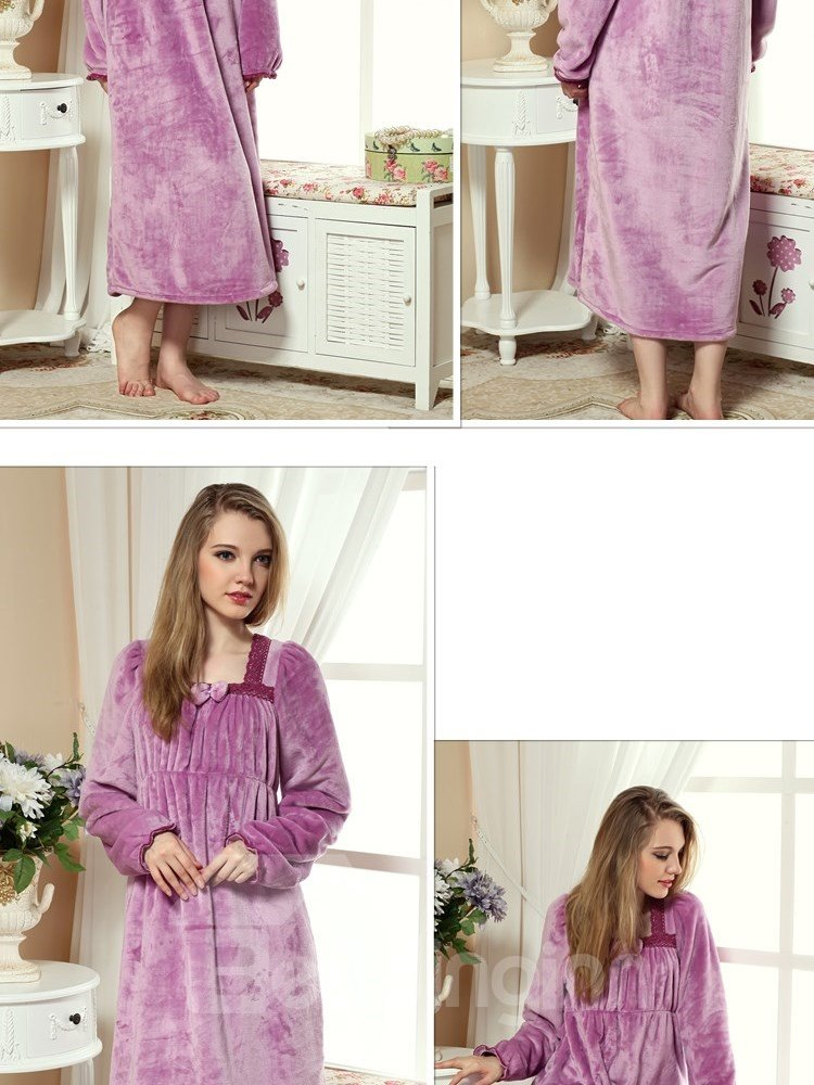 Lovely And Cozy Purple Velvet Winter Nightgown