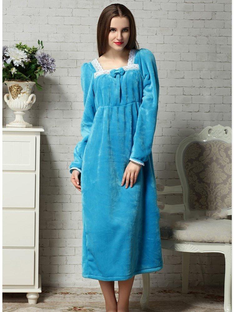 Lovely And Cozy Blue Velvet Winter Nightgown