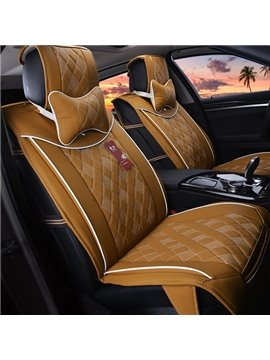 Solid Color White Line Ultra Comfortable Leather Car Seat Cover