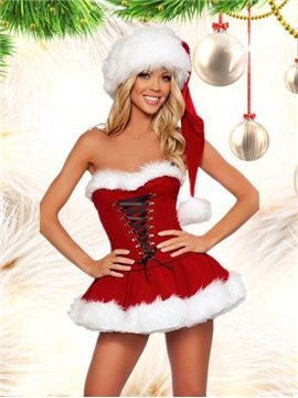 Beautiful And Sexy 2 Pieces Mini Dress Christmas Costume
