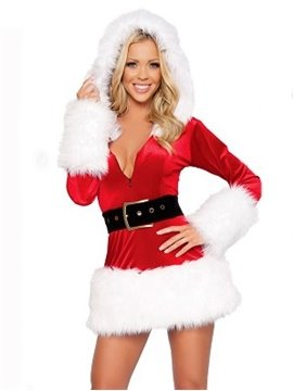 Beautiful And Sexy 2 Pieces Mini Dress Hooded Christmas Costume
