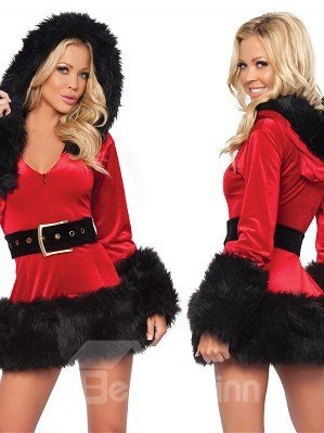 Sexy 2 Pieces Mini Dress Hooded Christmas Costume