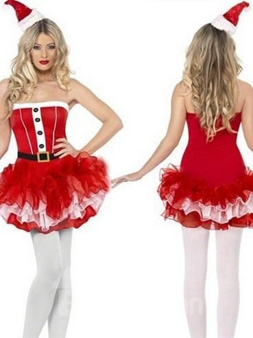 Sexy 2 Pieces Layered Mini Dress Christmas Costume