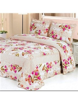 Pink Purple Blooming Flowers Pattern Ultra Comfortable 3-Piece Bed in a Bag Set